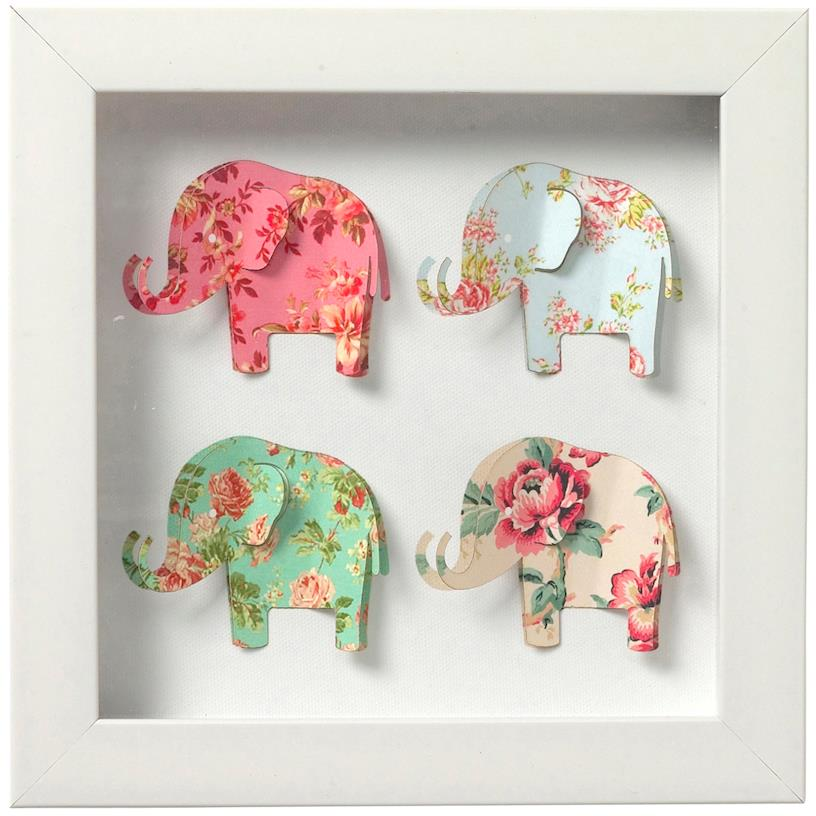 Framed paper art elephants - mini