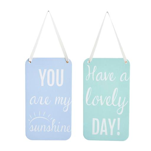 Blue and mint hanging signs