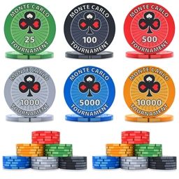 Monte Carlo Tournament Ceramic Poker Chip Sample Pack