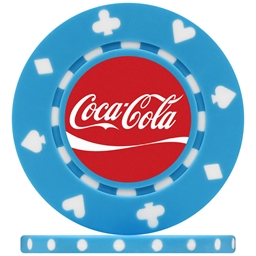 Coca Cola Light Blue Suited Poker Chip
