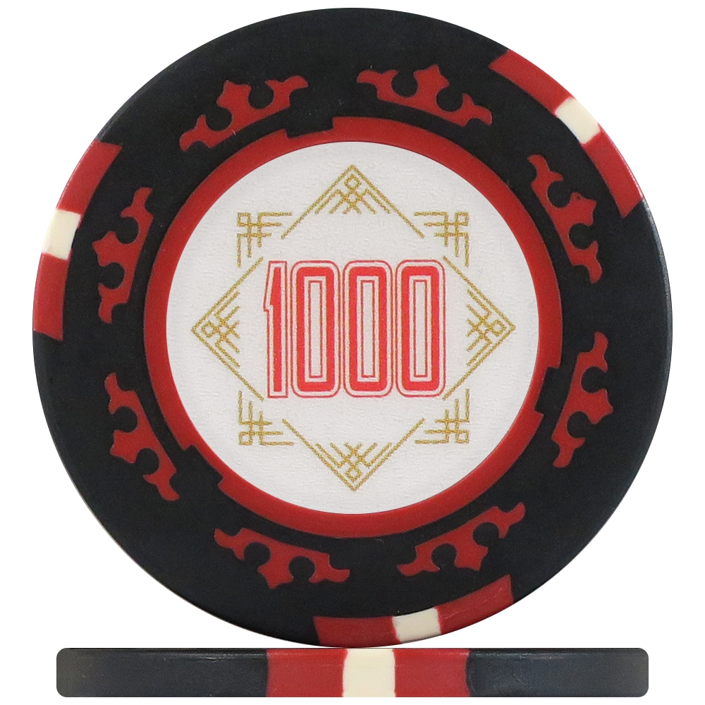 Three Colour Crown Poker Chips - Black 1000 (Roll of 25