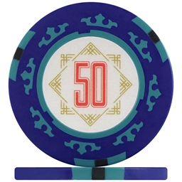 Three Colour Crown Poker Chips - Blue 50