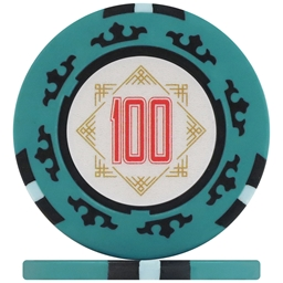 Three Colour Crown Poker Chips - Teal 100