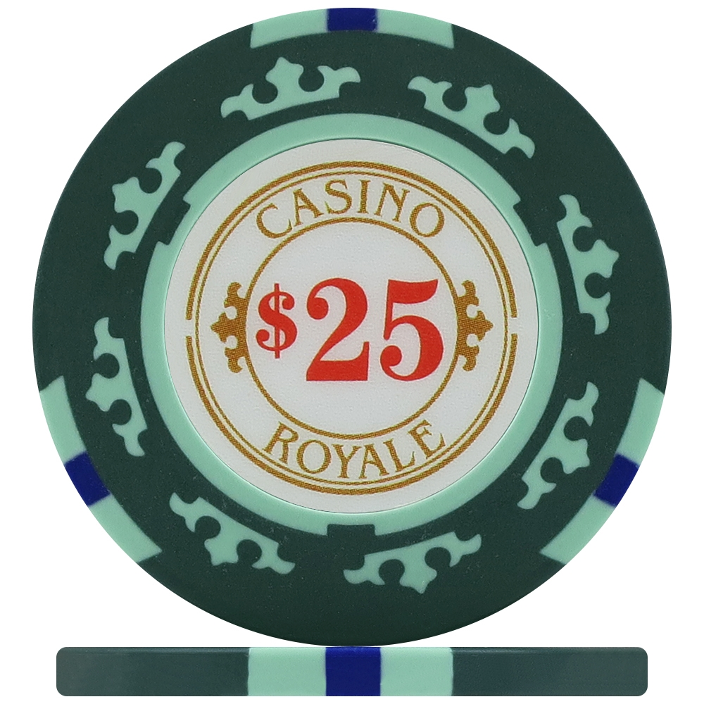 Casino Royale Poker Chips Green 25 Roll Of 25