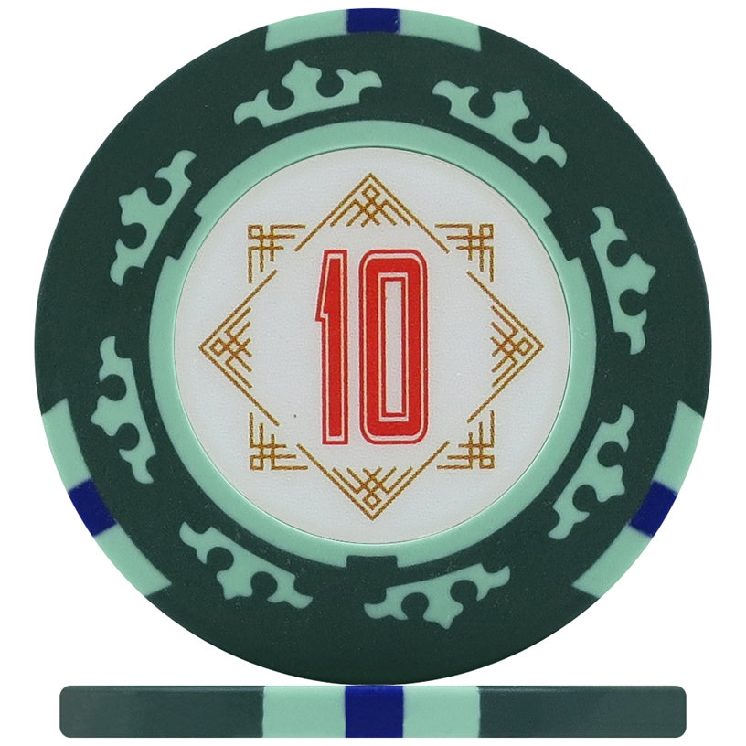 Three Colour Crown Poker Chips - Green 10