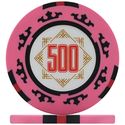 Three Colour Crown Poker Chips - Pink 500