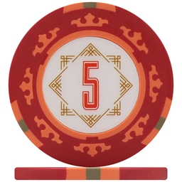 Three Colour Crown Poker Chips - Red 5