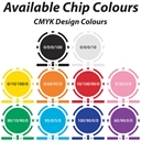 Available CMYK Colours 8 Stripe Custom Poker Chips