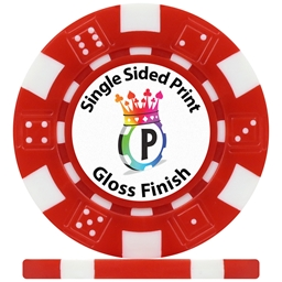 UV Dice Custom Poker Chips Gloss Single Side Print