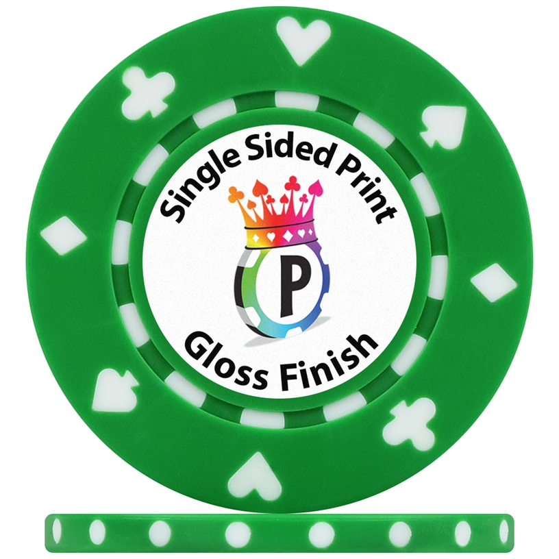 UV Suited Custom Poker Chips Gloss Single Side Print