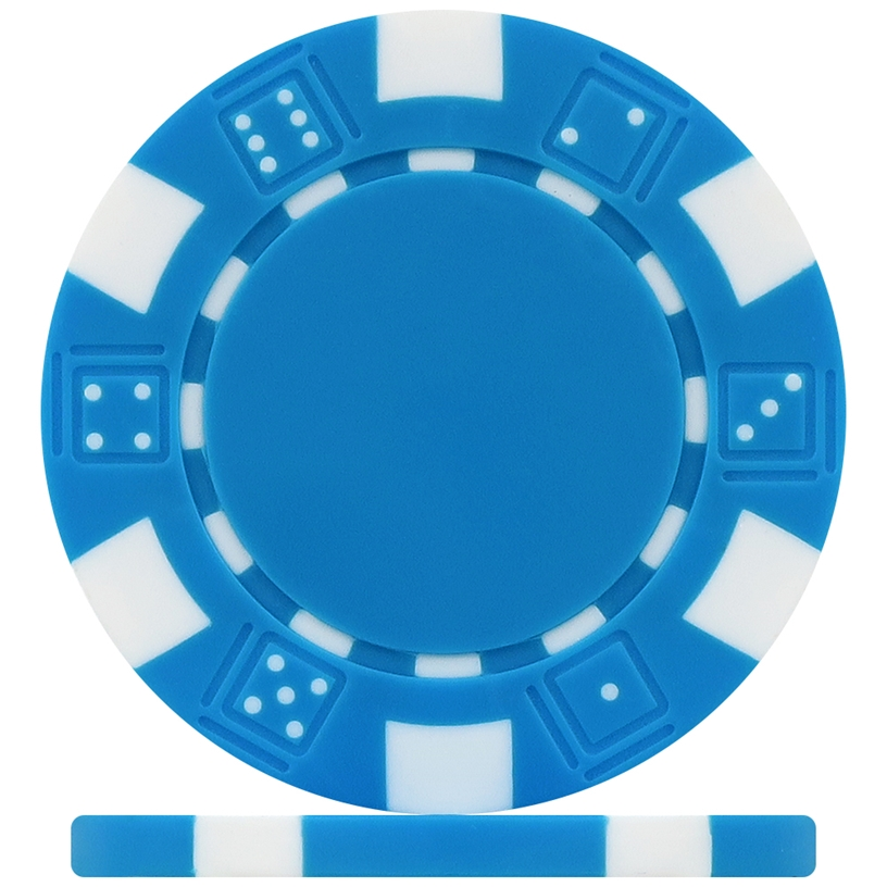 High Quality Light Blue Dice Poker Chips