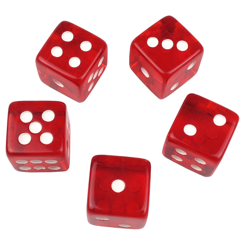 5 Red Translucent Dice
