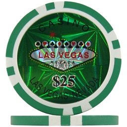 Green $25 (Roll of 25) - Las Vegas Casino Poker Chips