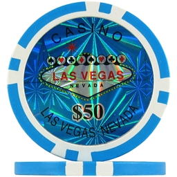 Light Blue $50 (Roll of 25) - Las Vegas Casino Poker Chips