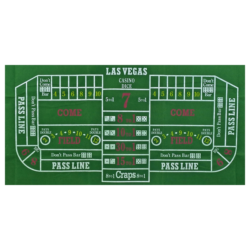 Large Green Felt Craps Layout