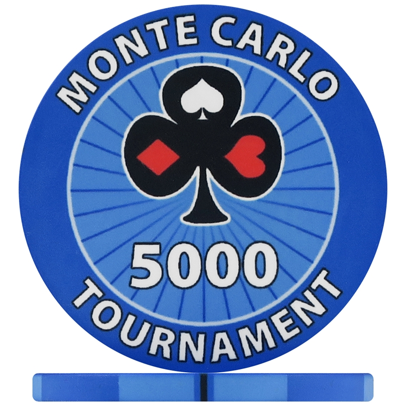 Monte Carlo Tournament Poker Chips - Blue 5000