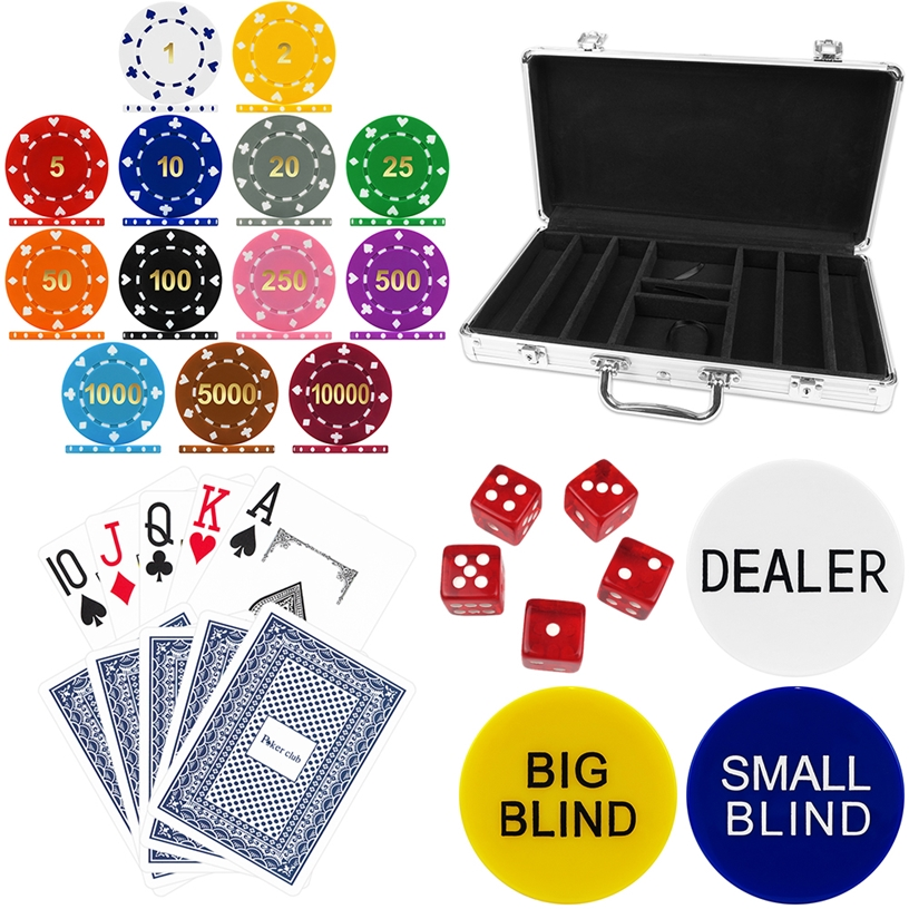 High Quality 300 Piece Suited Numbered Poker Chip Set