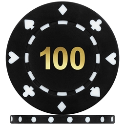 High Quality Suited Numbered Poker Chips - Black 100