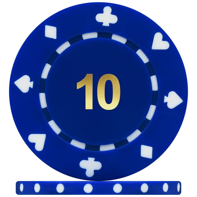 High Quality Suited Numbered Poker Chips - Blue 10