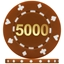 High Quality Suited Numbered Poker Chips - Brown 5000