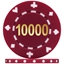 High Quality Suited Numbered Poker Chips - Burgundy 10000