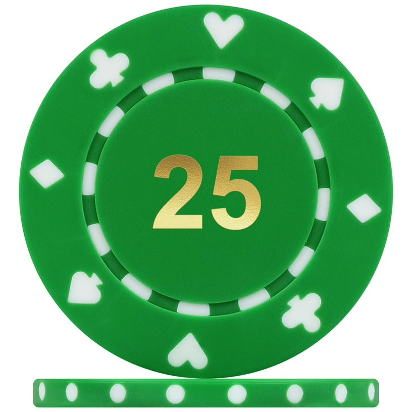 High Quality Suited Numbered Poker Chips - Green 25