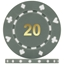 High Quality Suited Numbered Poker Chips - Grey 20