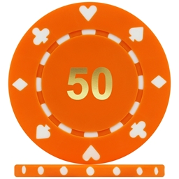 High Quality Suited Numbered Poker Chips - Orange 50