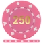 High Quality Suited Numbered Poker Chips - Pink 250