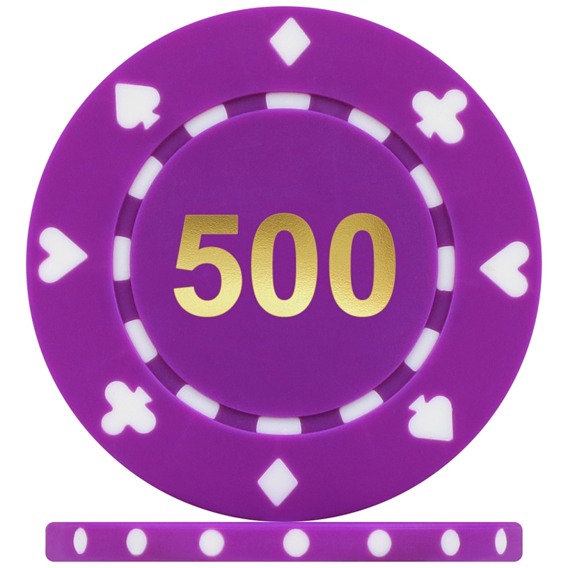 High Quality Suited Numbered Poker Chips - Purple 500