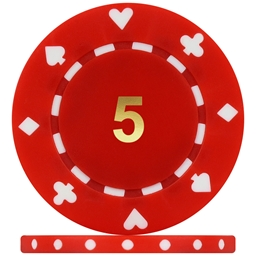 High Quality Suited Numbered Poker Chips - Red 5