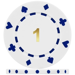 High Quality Suited Numbered Poker Chips - White 1