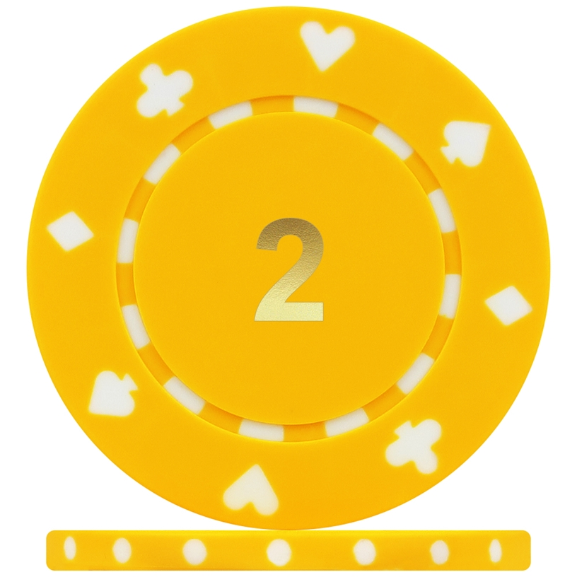 High Quality Suited Numbered Poker Chips - Yellow 2