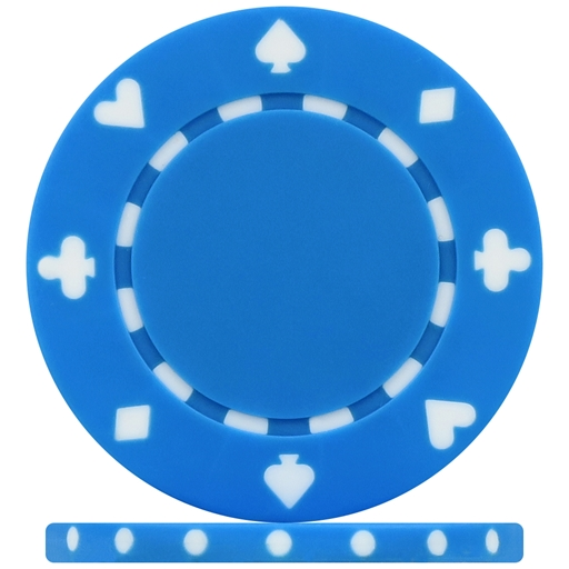 High Quality Light Blue Suited Poker Chips