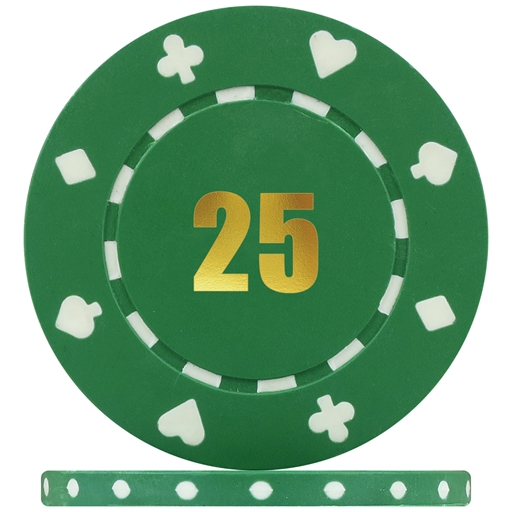 Budget Suited Numbered Poker Chips Green 25