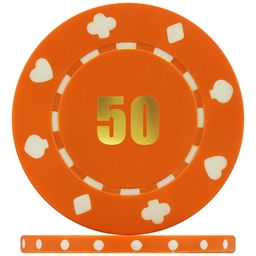Budget Suited Numbered Poker Chips Orange 50