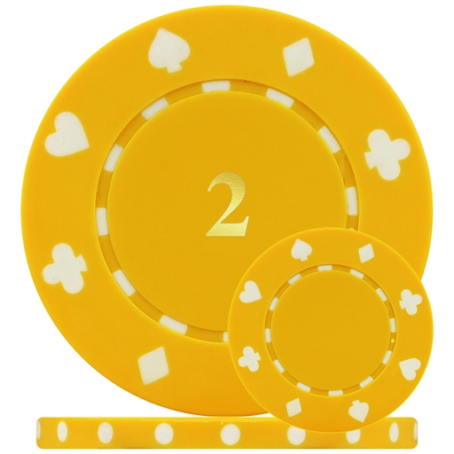 Suited Numbered Poker Chips Yellow 2 Single Sided