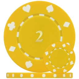Single Sided Yellow 2 - Suited Numbered Poker Chips