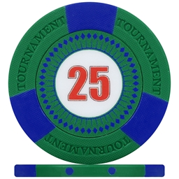 Tri-Gen Numbered Tournament Poker Chips - Green 25