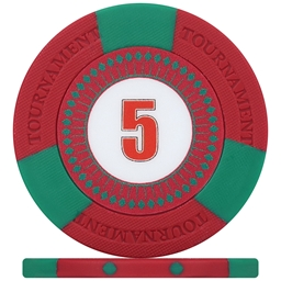Tri-Gen Numbered Tournament Poker Chips - Red 5