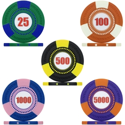 Tri-Gen Numbered Tournament Poker Chips - Sample Pack