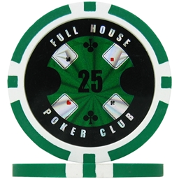 Full House Poker Club Poker Chips - Green 25 (Roll of 25)