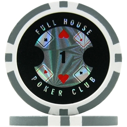 Full House Poker Club Poker Chips - Grey 1 (Roll of 25)