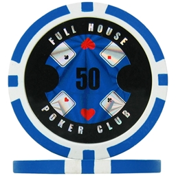 Full House Poker Club Poker Chips - Light Blue 50 (Roll of 25)