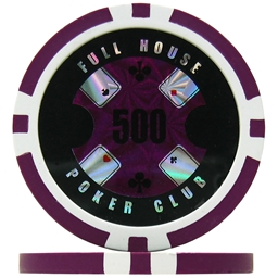 Full House Poker Club Poker Chips - Purple 500 (Roll of 25)