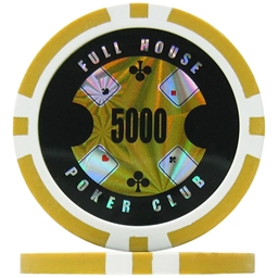 Full House Poker Club Poker Chips - Yellow 5000 (Roll of 25)