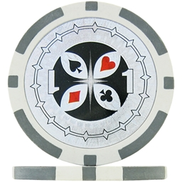 Numbered Laser Poker Chips - Grey 1 (Roll of 25)