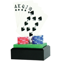 Ace Flush and Chip Resin Poker Trophy