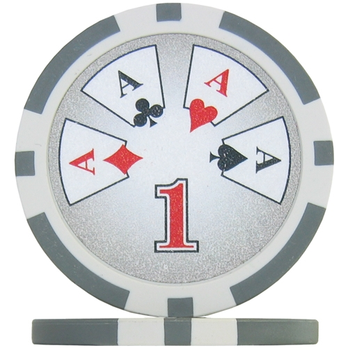 Royal Flush Numbered Poker Chips - Grey 1 (Roll of 25)