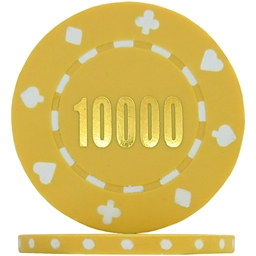 Budget Suited Numbered Poker Chips - Yellow 10000 (Roll of 25)